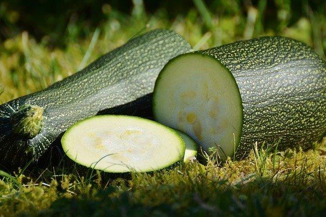Zelená cuketa rozkrojená na polovicu položená na zelenej tráve.jpg